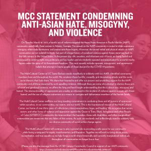 MCC STATEMENT CONDEMNING ANTI-ASIAN HATE, MISOGYNY, AND VIOLENCE