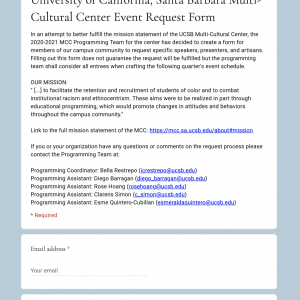 MCC Event Request Form